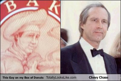 actor,box,Chevy Chase,donuts,logo