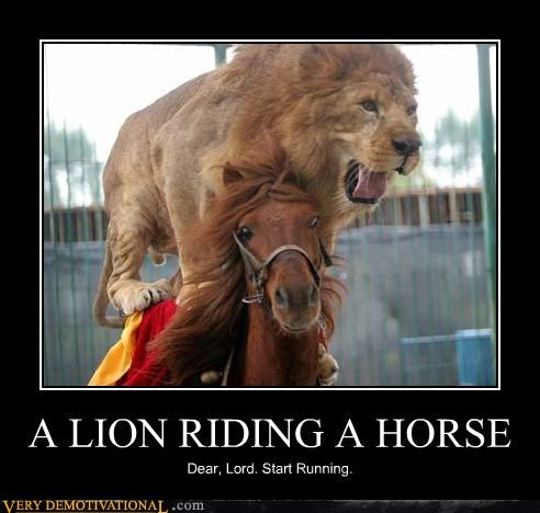 anthropomorphizing,friends,horse,lion,Pure Awesome,running,Terrifying