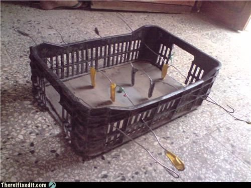 duct tape,foosball,masking tape,milk crate,wire hanger