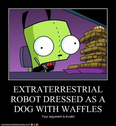 EXTRATERRESTRIAL ROBOT DRESSED AS A DOG WITH WAFFLES