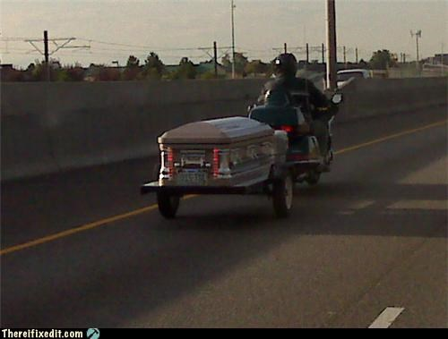 coffin,Death,funeral,hauling,Mission Improbable,motorcycle