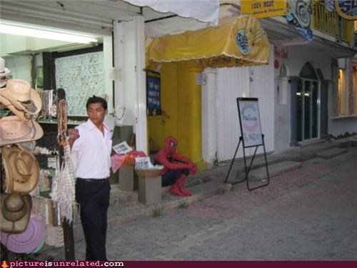 Spiderman Is Sitting Outside Of Cantina Rock, Whats The Deal With That?