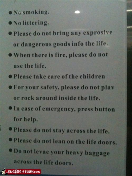 Safety Guidelines inside a LIFT in China