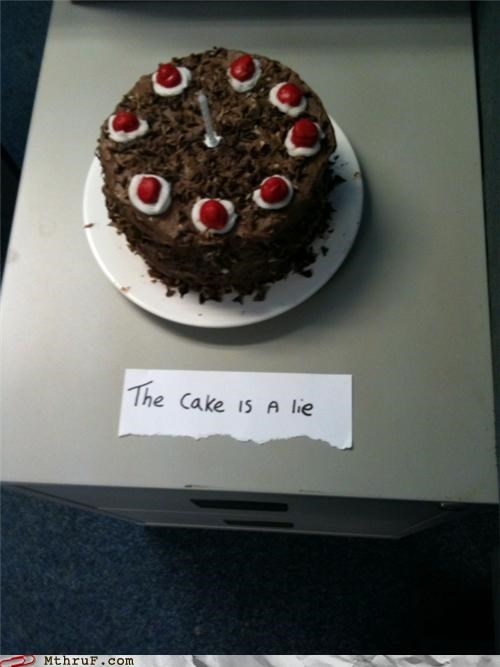 allusion,awesome,baking,boredom,cake,clever,cubicle boredom,derp,fanboy,food,game,imitation,mimicry,office kitchen,Portal,signage,valve,video game,video game reference,wiseass
