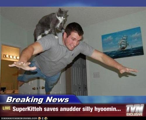 Breaking News - SuperKitteh saves anudder silly hyoomin...