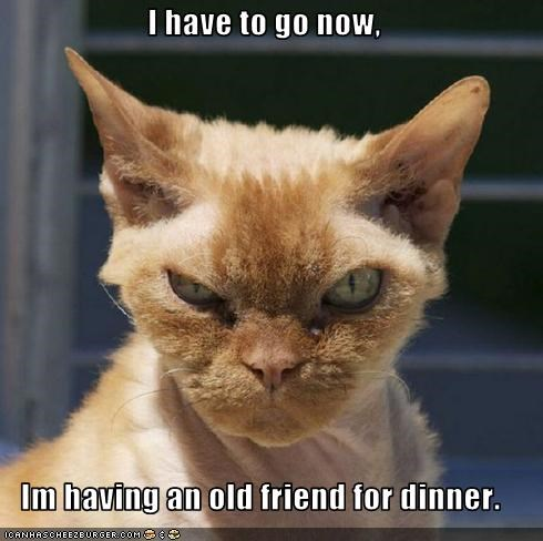 I have to go now,  Im having an old friend for dinner.