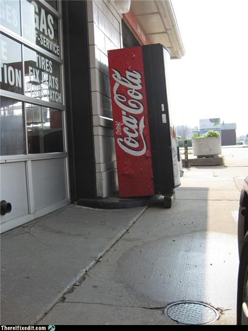 propped up,soda,unsafe,vending machine