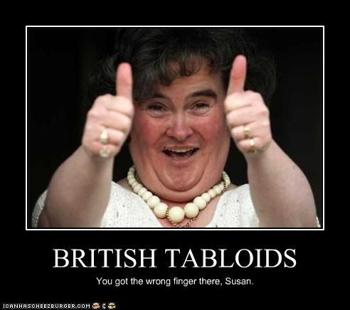 British,flipping the bird,paparazzi,singer,susan boyle