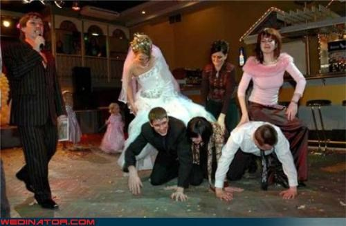 bride,Crazy Brides,eww,fashion is my passion,funny wedding photos,leapfrog wedding,pyramid wedding,ride em horsey,technical difficulties,wedding games,wedding party,wtf,wtf is this