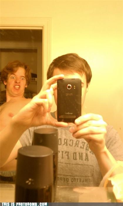 derp,mirror pics,phone,photobomb,shirtless