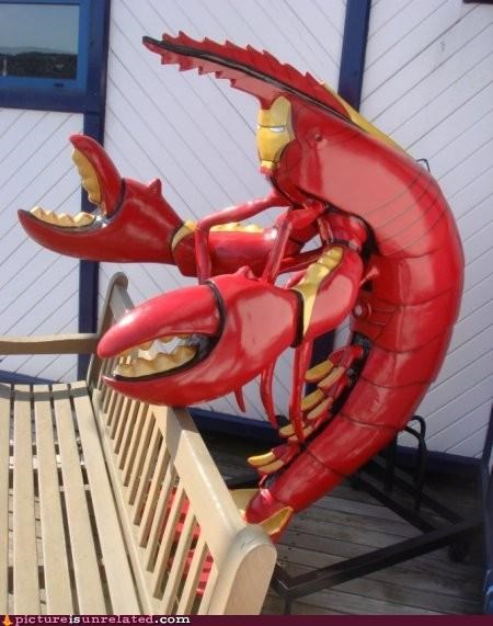 animal-non-human,art,awesome,comic books,iron man,lobster,statue,wtf