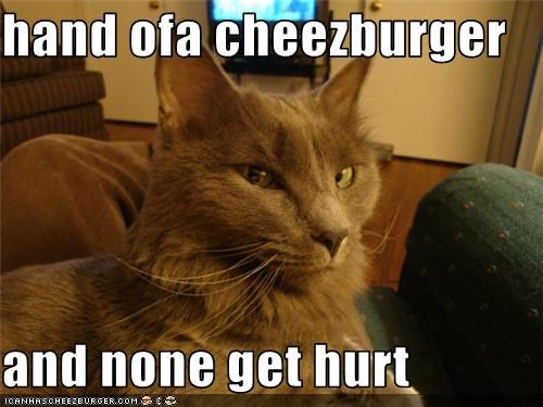 hand ofa cheezburger  and none get hurt