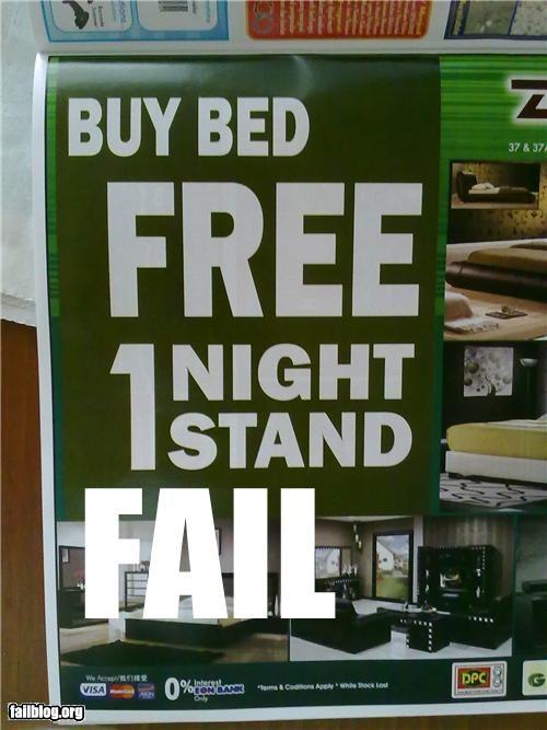failboat,mattress,one night stand,promotion