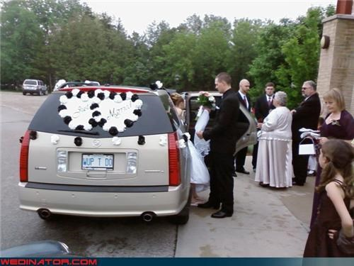 bride,getaway ride,groom,irony,Just Married,license plate,miscellaneous-oops,muahahaha,wedding party,Wup T Do