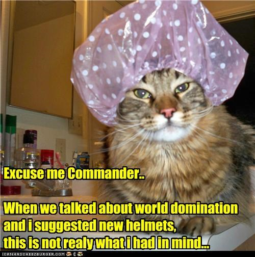 Excuse me Commander..  When we talked about world domination and i suggested new helmets, this is not realy what i had in mind...