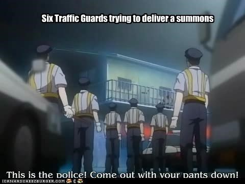 Six Traffic Guards trying to deliver a summons