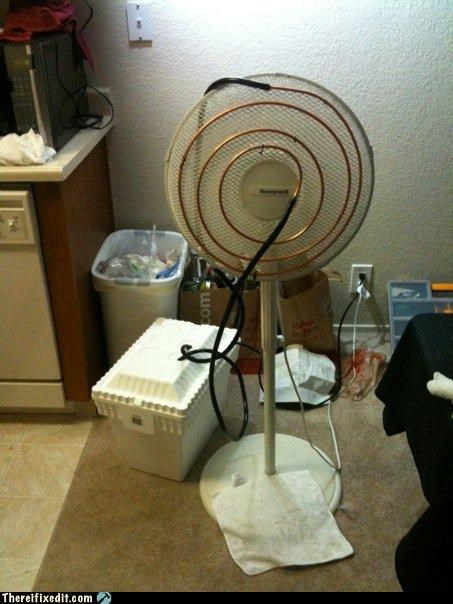 ac,copper tube,ice chest,oscillating fan