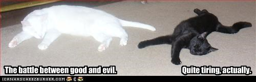 The battle between good and evil.                                              Quite tiring, actually.