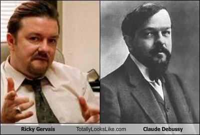 actor,British,classical music,Claude Debussy,comedian,Music,ricky gervais,the office