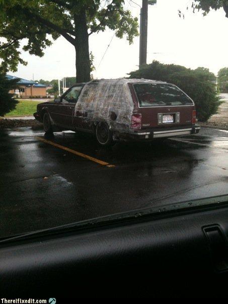 car fail,car fix,plastic wrap