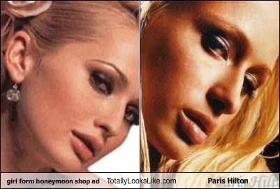 girl form honeymoon shop ad Totally Looks Like Paris Hilton