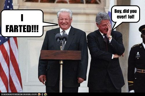 bill clinton,Boris Yeltsin,farts,laughing,podiums,russia,squinting faces