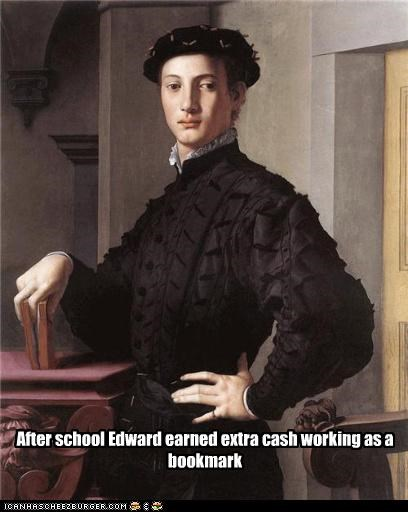 After school Edward earned extra cash working as a bookmark