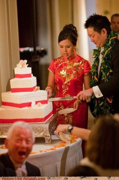 bride,Def Leppard,Dreamcake,fashion is my passion,funny wedding picture,groom,miscellaneous-oops,old man,photobomb,Sheer Awesomeness,surprise,traditional cake cutting,traditional Chinese wedding,were-in-love,Wedding Photobomb