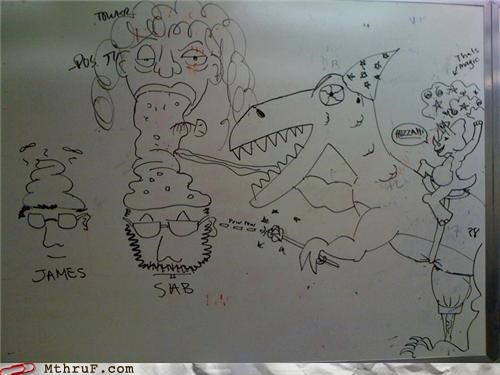 awesome,awesome co-workers not,barf,barfing,boredom,childs play,creativity in the workplace,cubicle boredom,decoration,dino,dinosaur,dinosaur attack,doodle,doodles,evidence,gross,markers,mess,poop,poop head,puke,Terrifying,therapy,vomit,weird,whiteboard,wtf