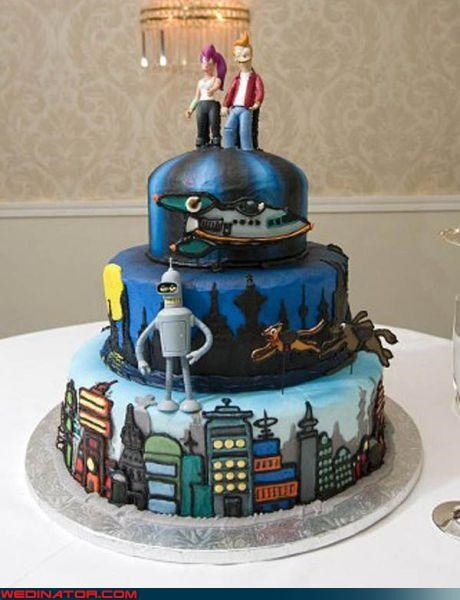 bender,cake topper,Dreamcake,fondant,Fry and Leela,futurama,Sheer Awesomeness,themed wedding cake,wedding cake,Wedding Themes