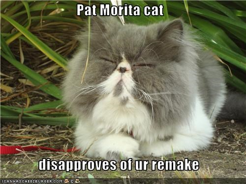 Pat Morita cat  disapproves of ur remake