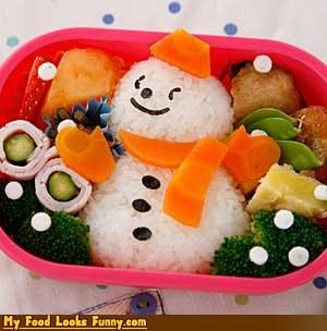 bento,bento box,box,cool,heatwave,rice,snow,snowman,winter