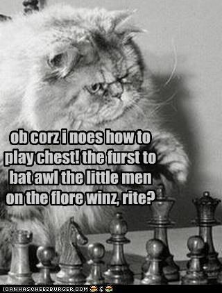 ob corz i noes how to play chest! the furst to bat awl the little men on the flore winz, rite?