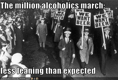 The million alcoholics march:  less leaning than expected