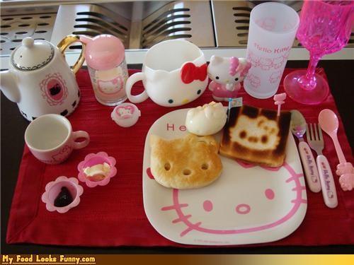 bread,breakfast,dishware,hello,hello kitty,Japan,kitty,set