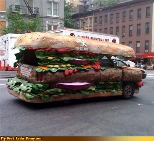 burgers and sandwiches,car,driving,sandwich,sandwich car,sandwich truck,truck,vehicle