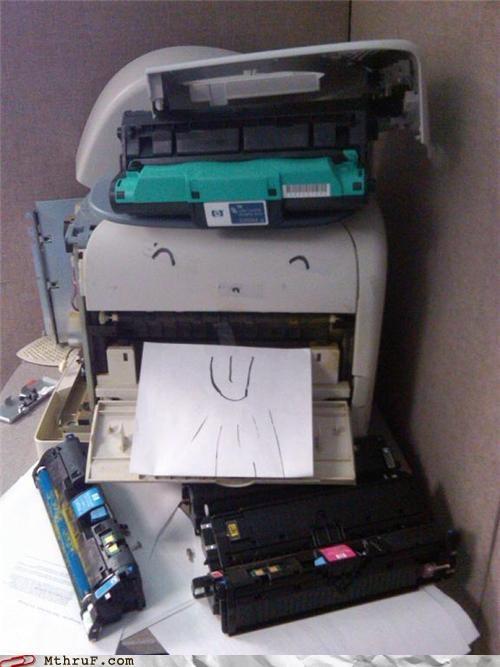 anthropomorphic,boredom,cartoon eyes,clever,creativity in the workplace,cubicle boredom,cubicle prank,decoration,hardware,personification,prank,printer,Sad,sculpture,toner,tragic,wiseass