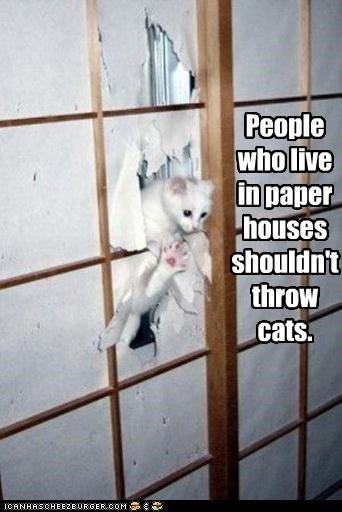 People who live in paper houses shouldn't throw cats.