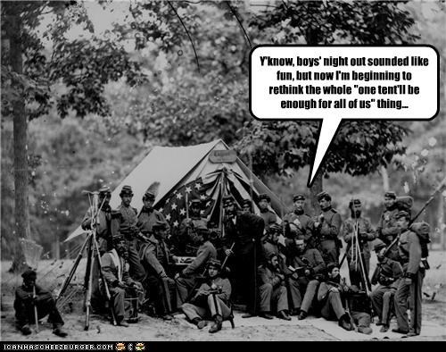 """Y'know, boys' night out sounded like fun, but now I'm beginning to rethink the whole """"one tent'll be enough for all of us"""" thing..."""