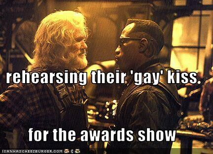 rehearsing their 'gay' kiss for the awards show
