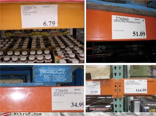 baby skulls,bad 90s stand-up,bad joke,big box store,bizarre,coordinated prank,costco,counterfeit,dumb joke,hack joke,hat,joke,labels,nonsense,not funny sorry,paper signs,poodle,prank,product labels,replica,retail prank,sass,signage,skulls,sneaky,store prank,throne,warehouse,whats-the-deal-with,wiseass,wtf