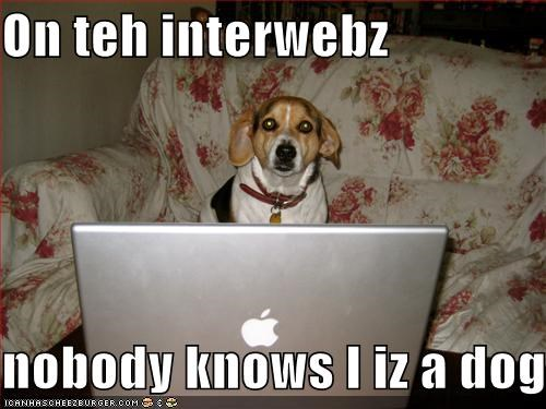 On teh interwebz  nobody knows I iz a dog.