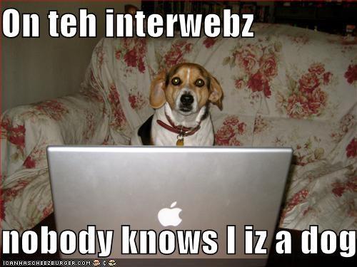 On teh interwebz  nobody knows I iz a dog.