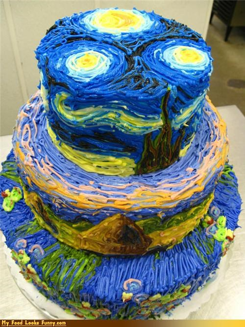 blue,cake,frosting,night,painting,starry night,stars,Sweet Treats,Van Gogh