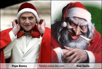 bad santa,creepy,Hall of Fame,pope,pope benedic xvi,santa