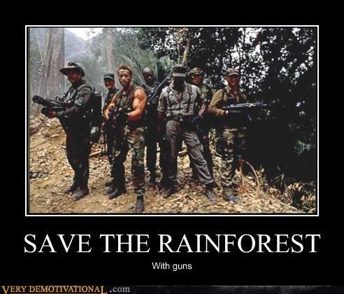 Arnold Scwharzenegger,awesome,Carl Weathers,guns,Jesse Ventura,jungle,Minigun,nature,Predator,Pure Awesome,rain forest