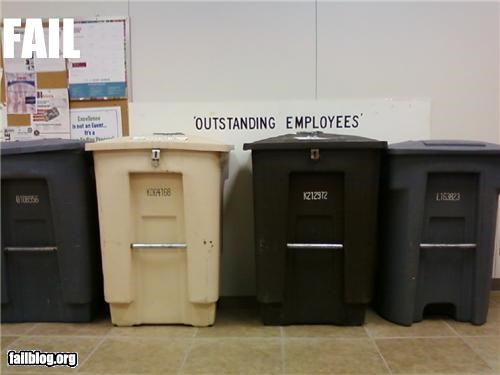 appreciation,employees,failboat,recycling,trash cans,work