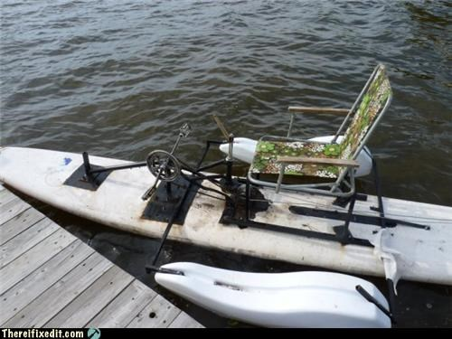 awesome,boat,floral print,foot pedal,Kludge,lawn chair,relaxing