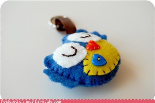 accessory,felt,handmade,Keychain,Owl