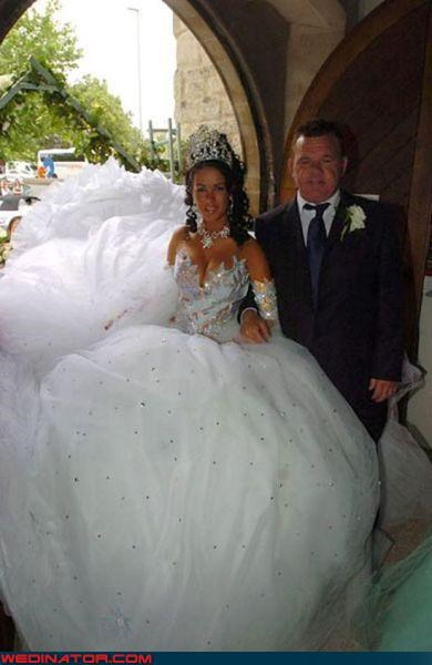 boobs wedding dress,claw boobs,Crazy Brides,crown,fashion is my passion,funny wedding dress picture,funny wedding photos,hot mess of a bride,long dress train,princess tiara,surprise,technical difficulties,wedding dress train,wedding foam party,wtf